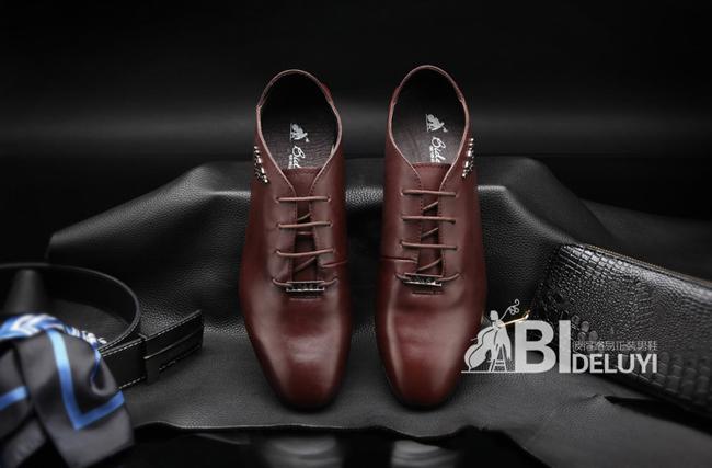韩版休闲小皮鞋男式真皮皮鞋蓝