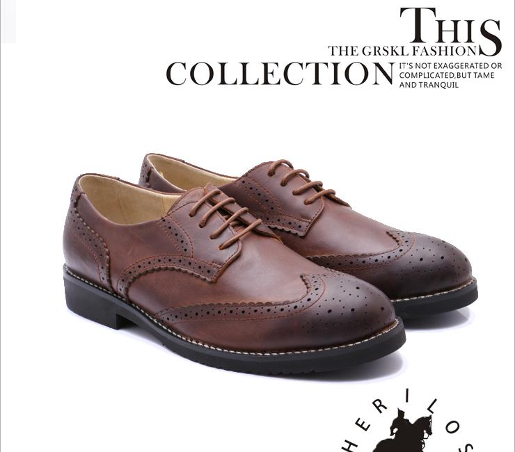 梵慕韩版潮流英伦风休闲男士皮鞋复古牛津鞋