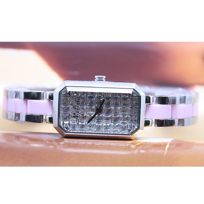 Melissa玛丽莎 璀璨水晶 时尚个性 小巧精致 粉陶瓷手表