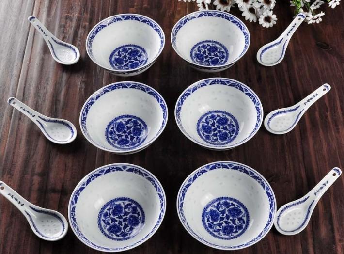 景德镇御磬陶瓷12头青花玲珑饭碗价格 报价图片