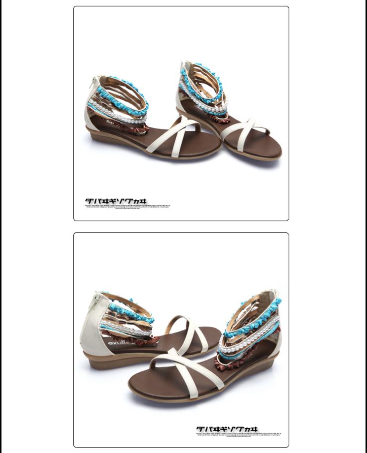 exull依思q 新款 波西米亚风格坡跟低跟女鞋凉鞋