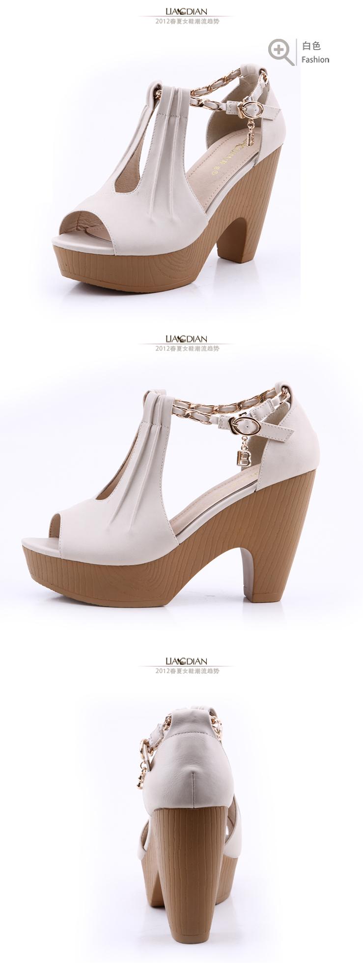 新款欧美防水台粗高跟时装凉鞋厚底鱼嘴女凉鞋28801