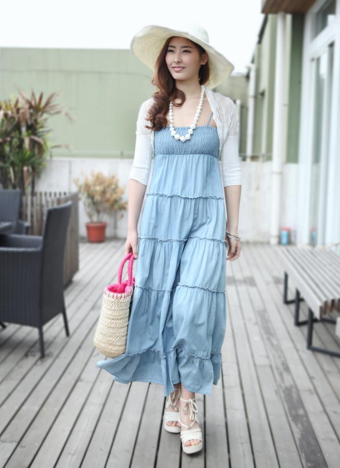 2012夏装 高腰牛仔布吊带连衣裙