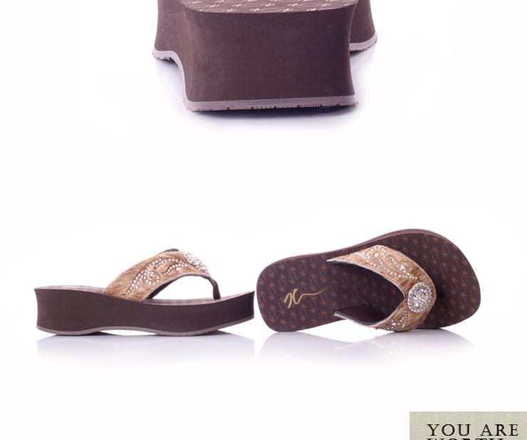 7c拖鞋人字拖女坡跟罗马凉拖夏季厚底高跟水钻防滑zw