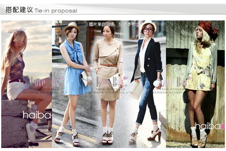 EBOX夏女薄袜子 可爱波点蝴蝶结丝袜短袜白色 白色 均码图片