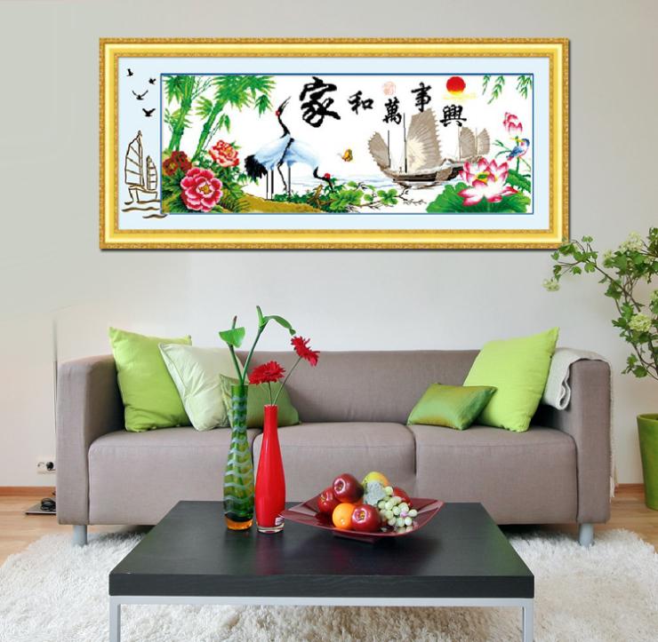 魅艺十字绣印花 家和万事兴鹤寿年丰