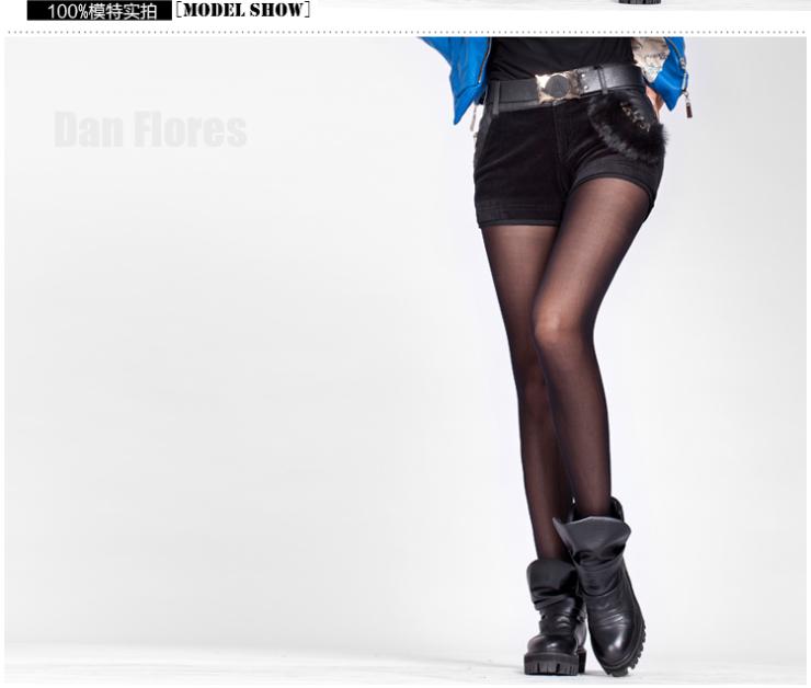 3夏装新款韩版女装灯芯绒短裤 PU皮拼接短款靴裤8051 S