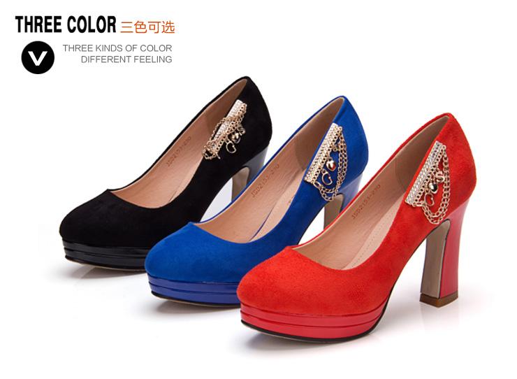 巨圣2013新款女鞋春季超高粗跟防水台高跟鞋金属链浅
