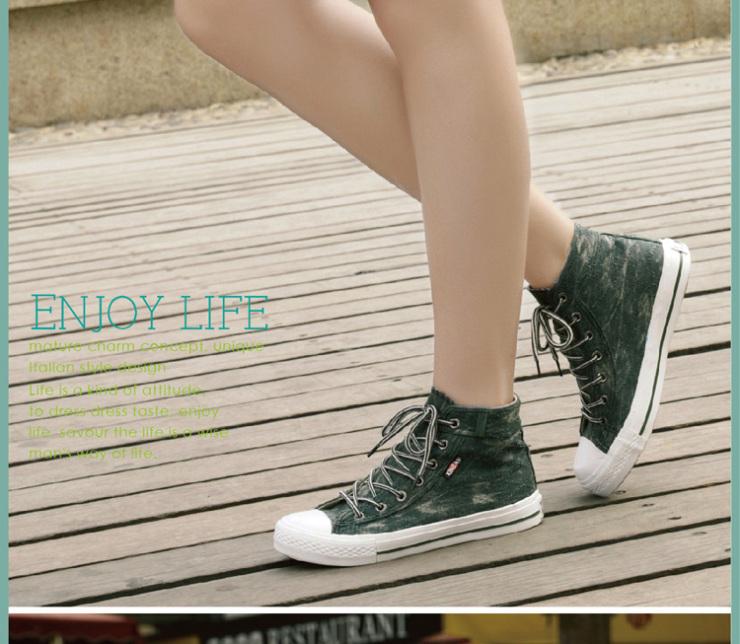 星邦新款帆布鞋女韩版潮高帮复古做旧牛仔布休闲鞋单