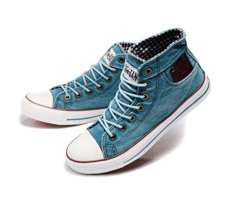 星邦男款帆布鞋高帮水洗牛仔布休闲系带板鞋男鞋a602
