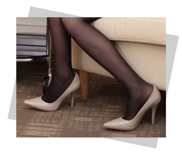 DOO) 浅口细跟尖头高跟鞋 欧美黑色-尖头细跟浅口高跟鞋 尖头 口