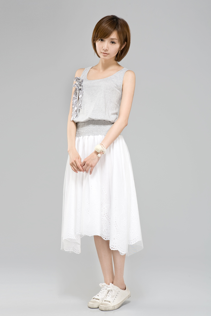 女夏条纹拼接网纱连衣裙背心裙1281235