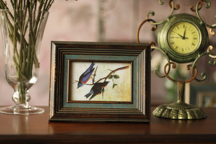 式创意6寸实木相框批发 复古做旧木质相架画框家居装饰品摆件 XK图片