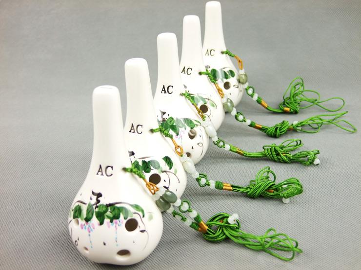 陶笛6孔中音c调六孔陶笛 瓷笛6孔满口埙 ac白色手绘 送陶笛教材图文