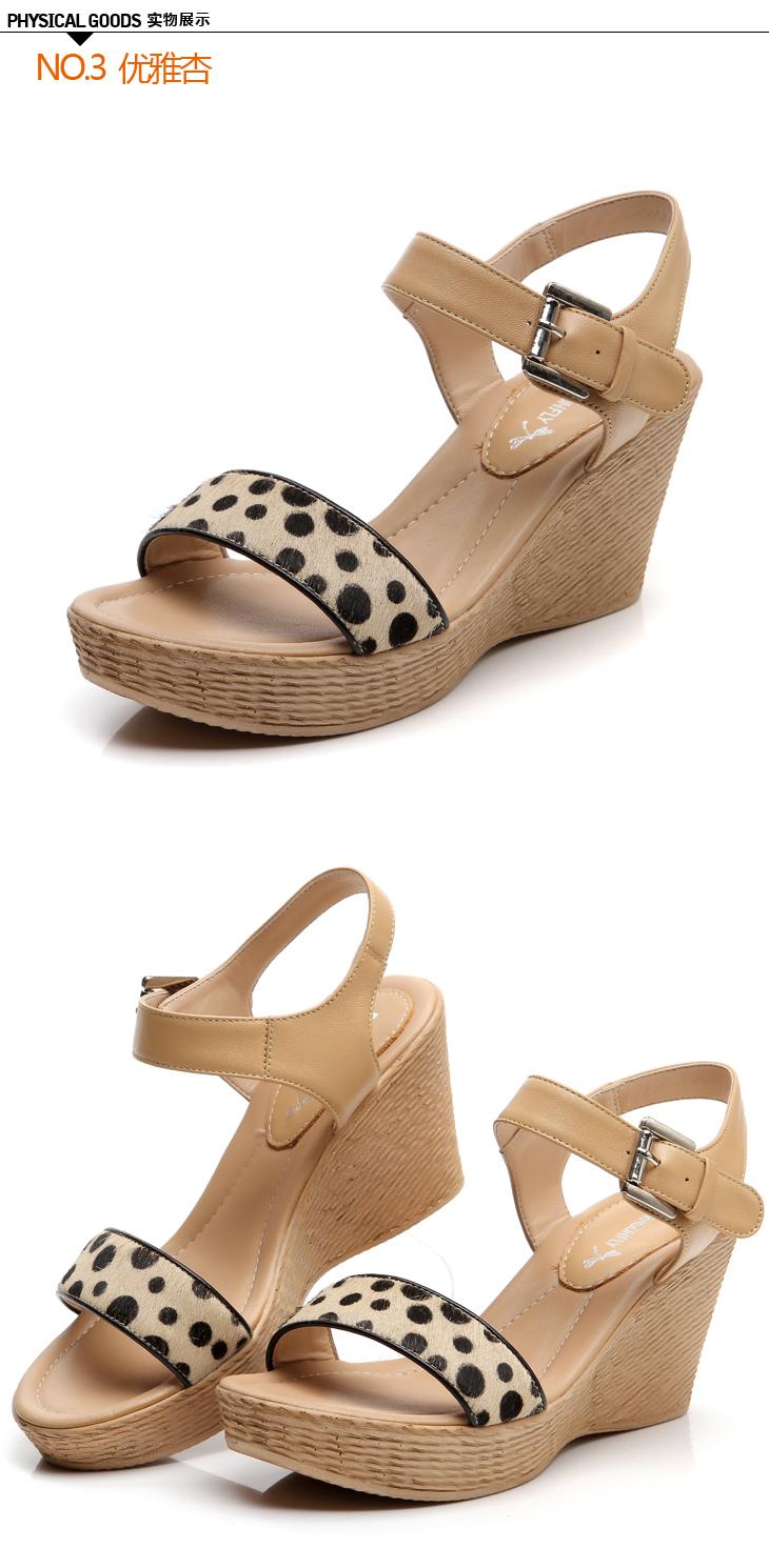 红蜻蜓夏季新款豹纹波点糖果色坡跟女凉鞋wnk38631