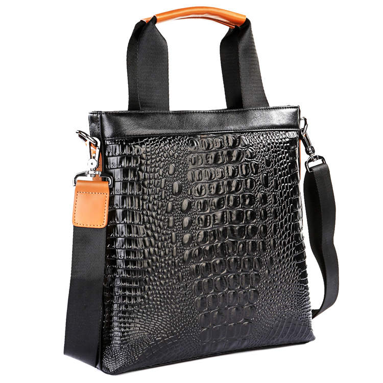 MaxUomo Max Mu excellent Italian fashion casual business man portable shoulder Messenger Bag crocodile pattern leather hand carry bag M010 Black