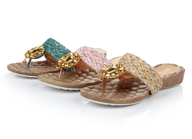 大东2013夏季新款拖鞋女 波西米亚编织平底拖鞋 平跟女鞋3X2518 杏