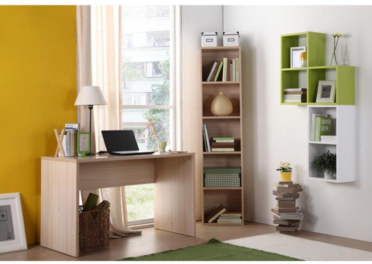 恩嘉依转角书桌书柜组合套装 带墙上书架现代简约书房宜家