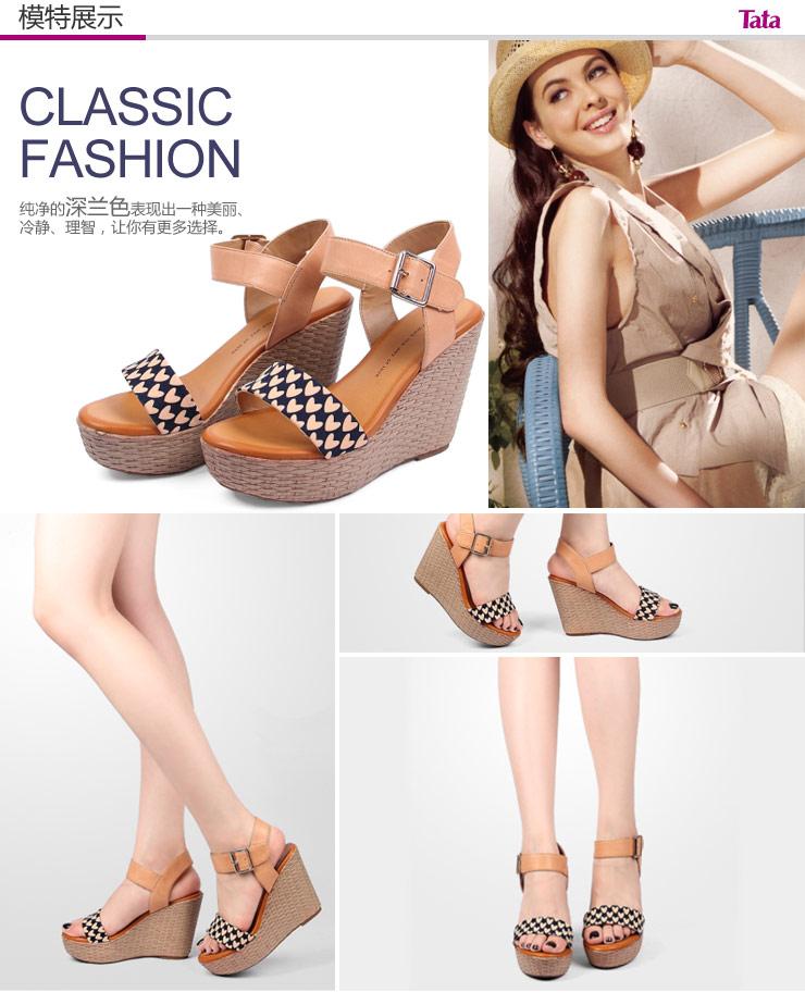 tata/他她2013夏季深兰印花布/棕黄油蜡羊皮女凉鞋
