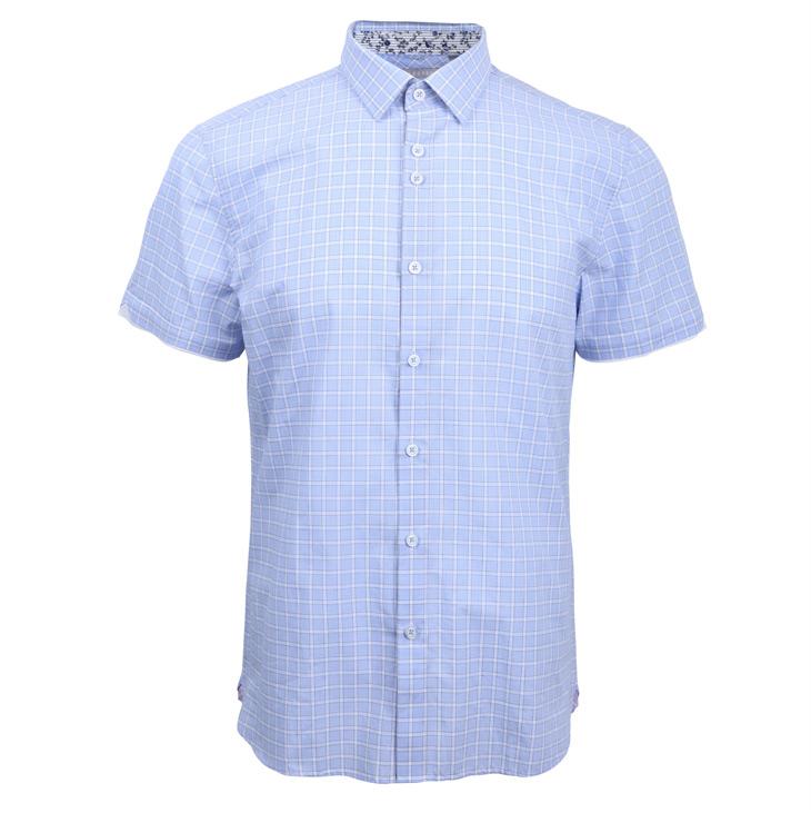 纯棉格纹男士短袖商务衬衫b浅蓝|412204029