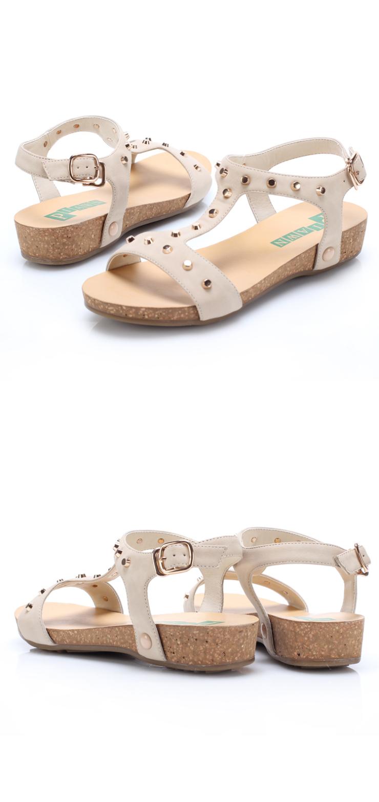 露趾丁字式扣带女凉鞋低跟坡跟日常时尚舒适休闲女鞋