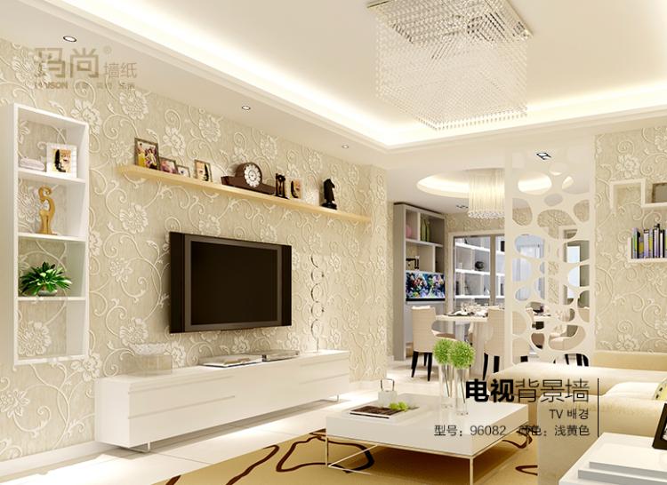 玛尚壁纸 无纺布环保3d立体浮雕墙纸 简约现代卧室客厅沙发背景墙1415