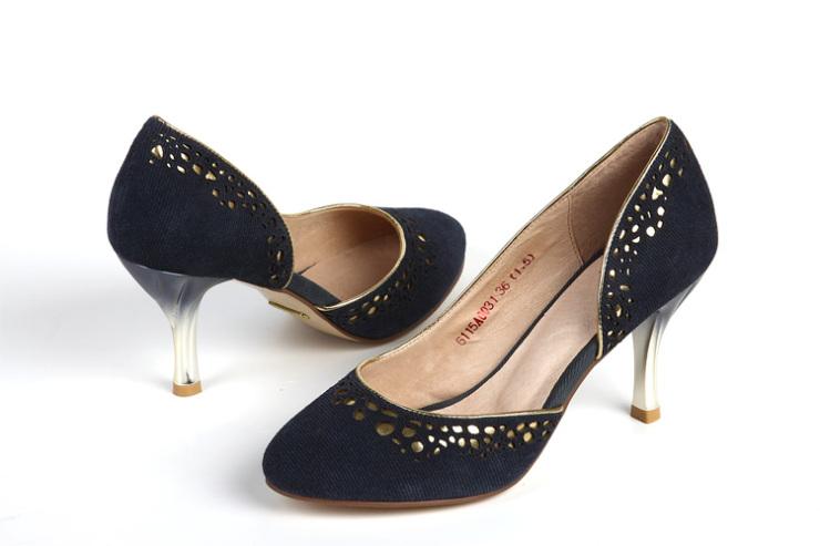 红蜻蜓单鞋女正品高跟低帮鞋女鞋女鞋羊皮真皮鞋磨砂