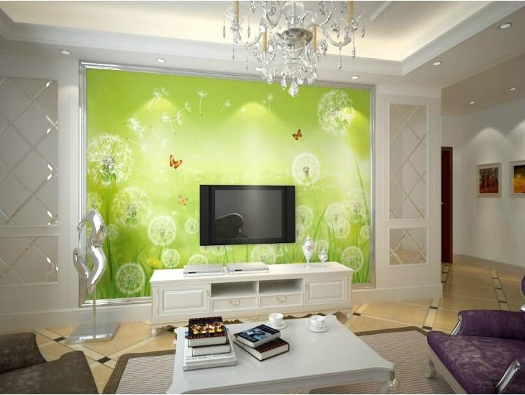 塞拉维 绿色蒲公英 电视背景墙纸壁纸 现代简约