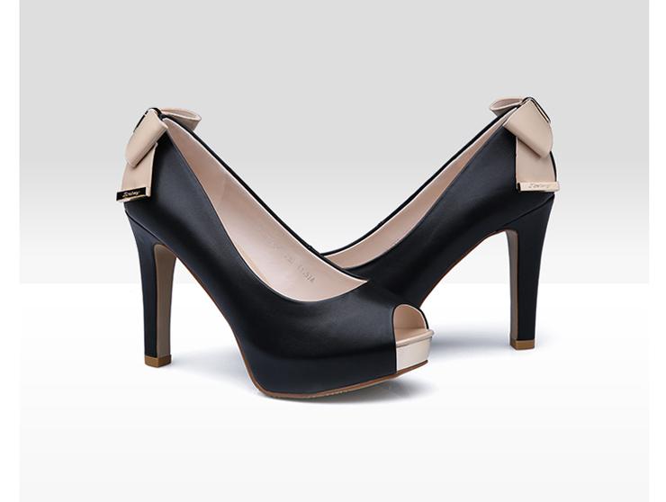 卓诗尼2014新款春季单鞋欧美鱼嘴蝴蝶结超高跟细跟