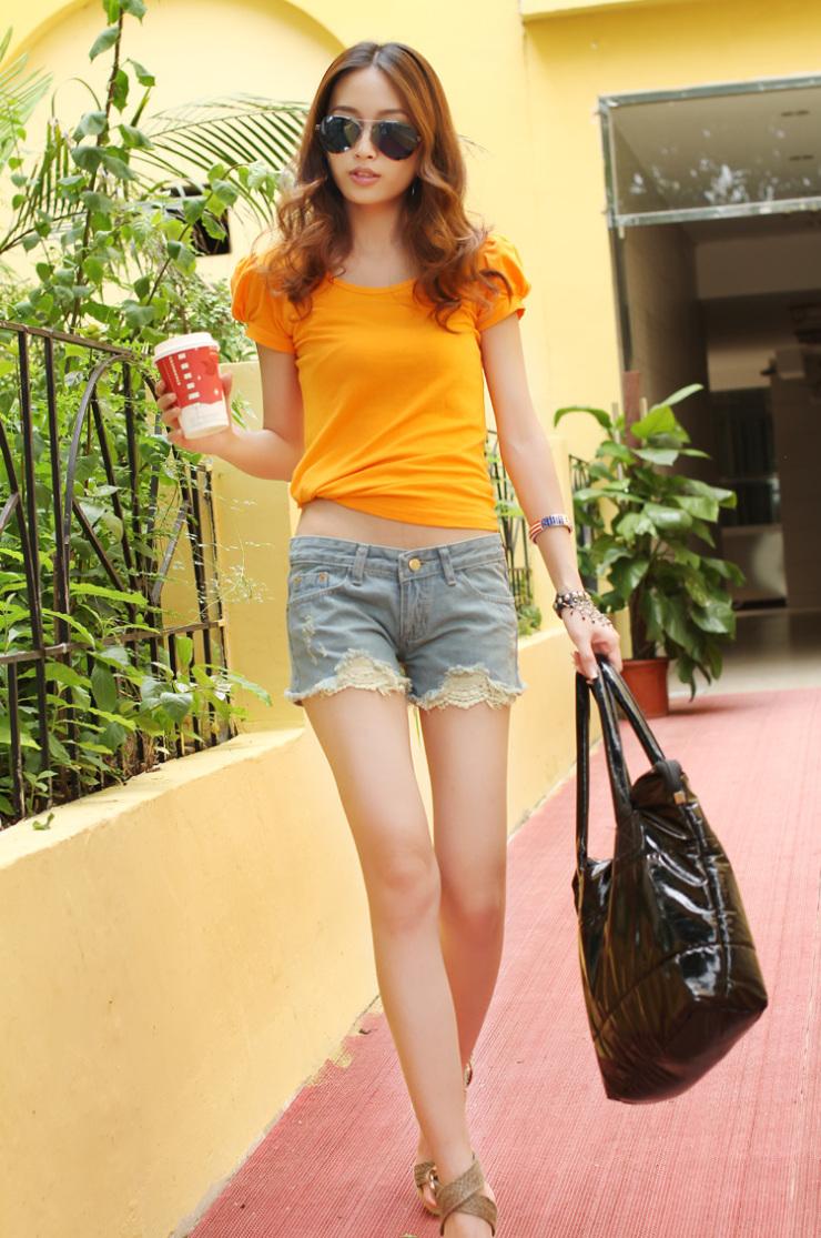 艾尚比尔 夏季新款牛仔裤 低腰牛仔短裤夏装 韩版 蕾丝花边 宽松大码热裤女 3820 浅蓝色 XL/29