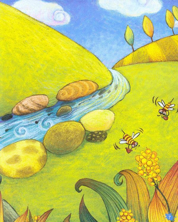 农村风景溪水儿童画