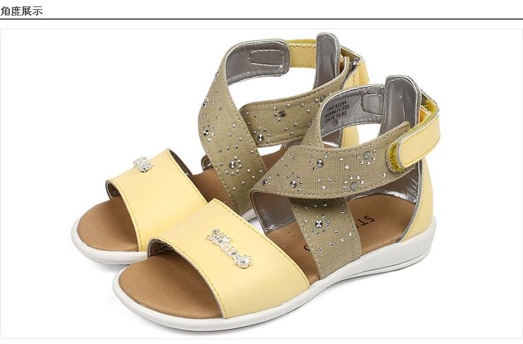 staccato/思加图童鞋2013夏季白色二层牛皮/蓝色牛仔