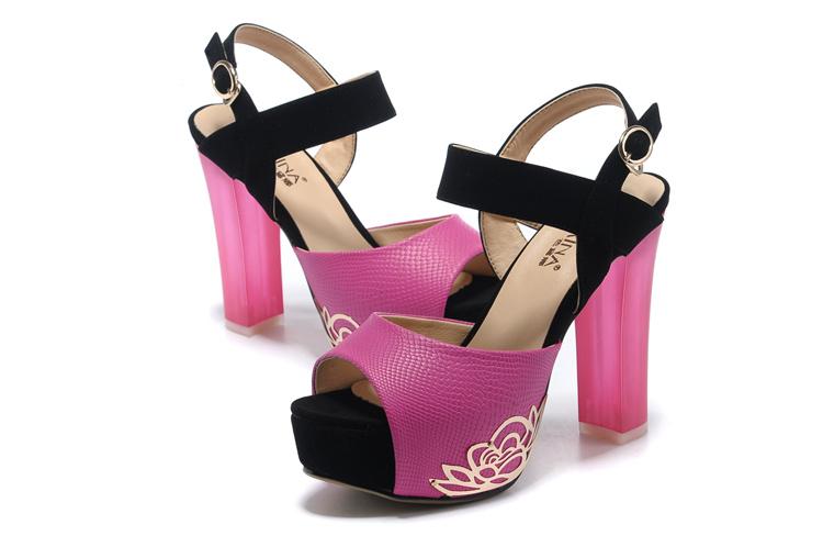 夏季新款时尚金属防水台鱼嘴女子高跟鞋
