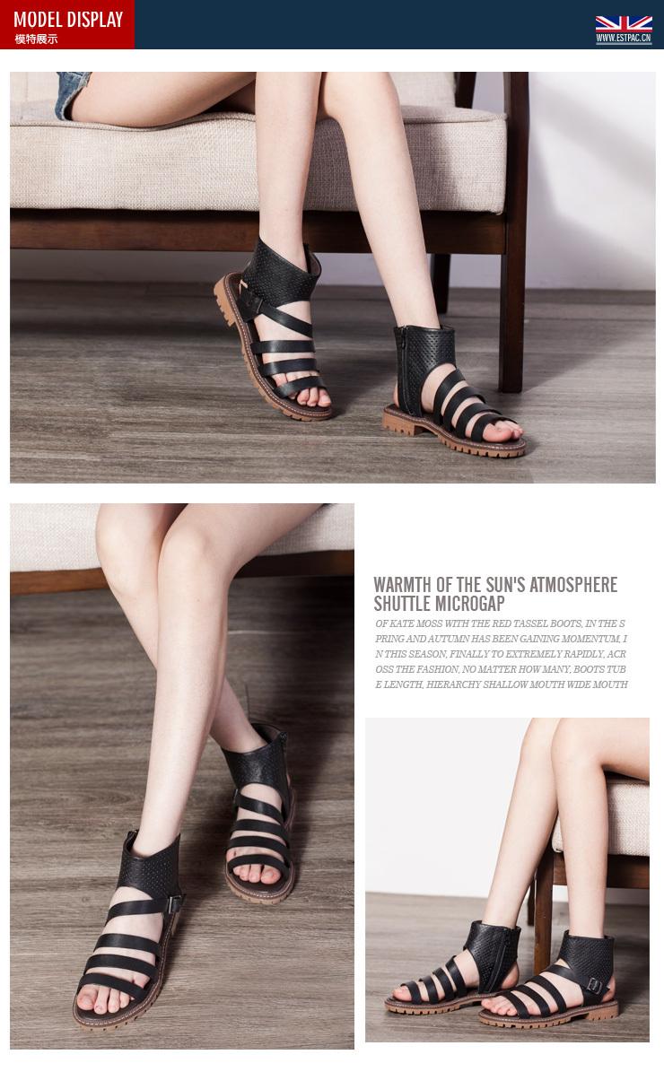 2014年夏季新款罗马鞋复古平底女凉鞋雕花靴帮