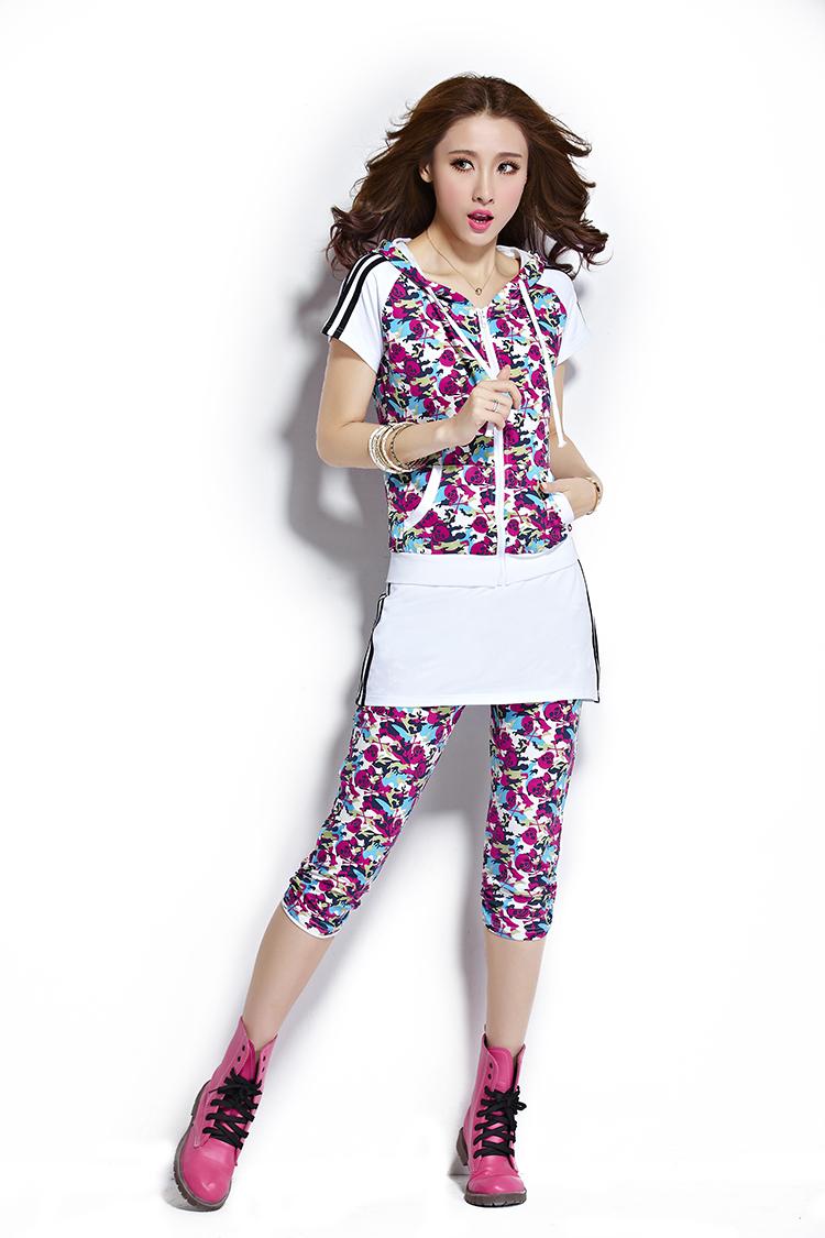 尤妮路2014夏季新款潮韩版时尚短袖运动服大码卫衣女