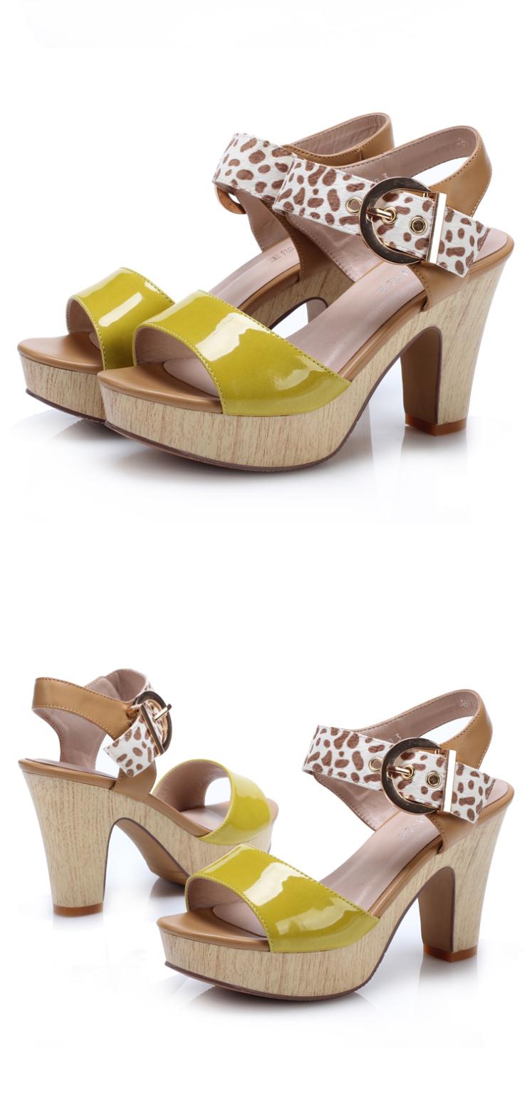 彪王夏季新款时尚拼接色豹纹女鞋欧美流行粗跟防水台