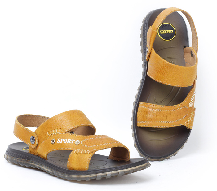 男士沙滩鞋凉拖鞋真皮韩版男皮凉鞋露趾凉皮鞋30602