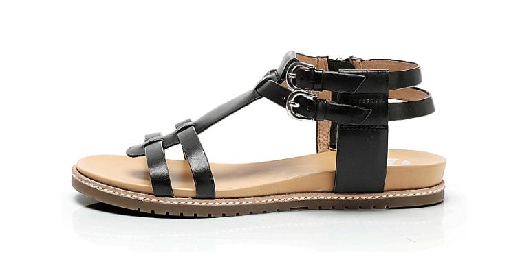 bata/拔佳2013夏季黑色打蜡小牛皮女凉鞋