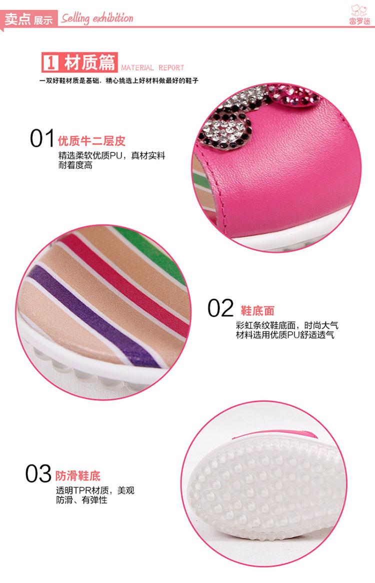 富罗迷女童凉鞋2014夏季新款韩版儿童凉鞋真皮女童鞋