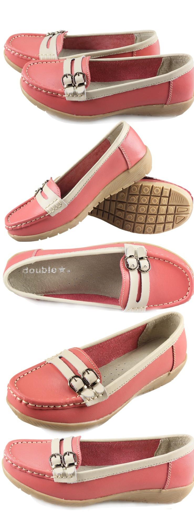女皮鞋舒适帆船鞋浅口单