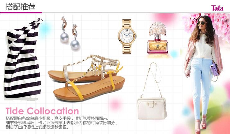 tata/他她2013夏季黄金布女凉鞋2wq04bl3