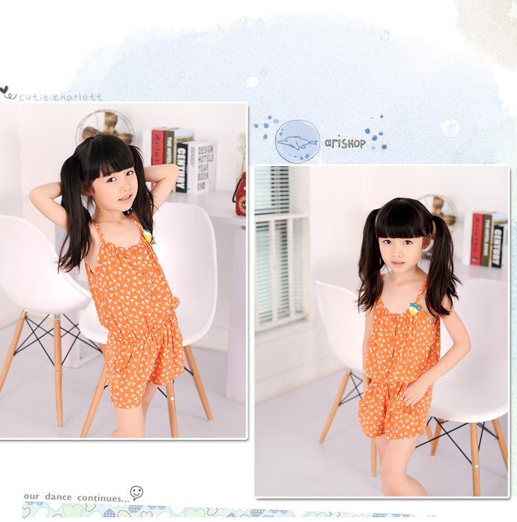卓贝酷儿 童装女童 夏装新款韩版女童两穿吊带碎花连体短高清图片