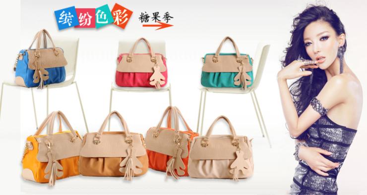 妃儿果冻包包2013新款韩版潮女撞色