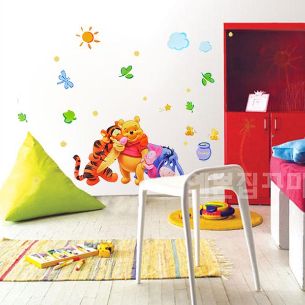 叮叮 墙贴纸 儿童房教室布置贴画 卧室卡通墙壁贴纸 维尼熊一家 三代特