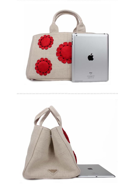 prada普拉达女包 女款帆布米色花朵手提包