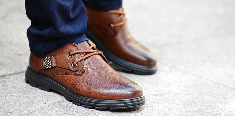 木林森 2013秋冬新款 英伦时尚商务休闲鞋头层牛皮低