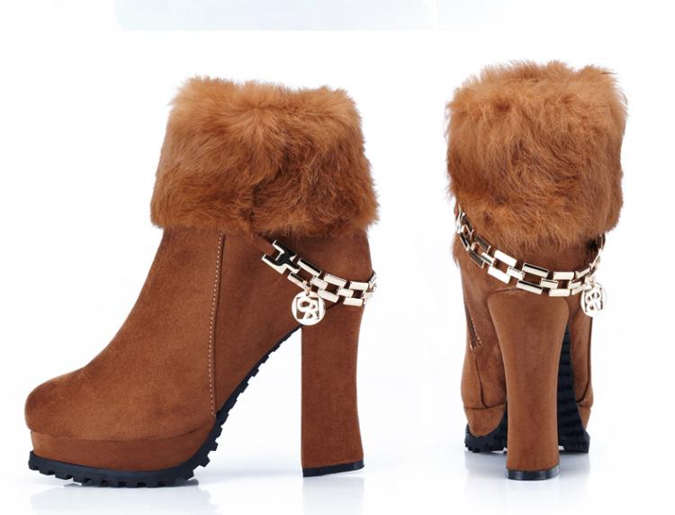 卓诗尼女鞋2013新款休闲短靴冬季纯色女靴侧拉链马丁