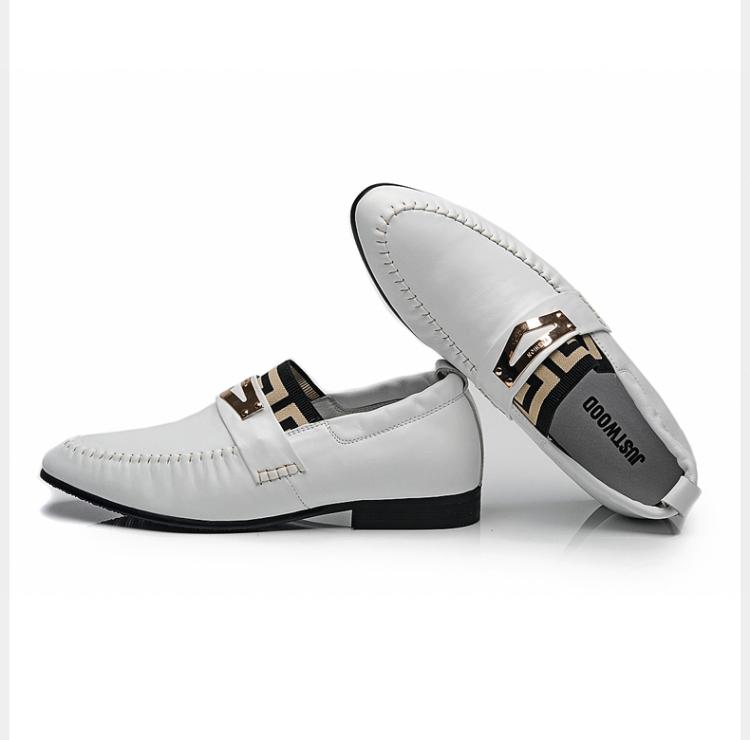 英伦尖头皮鞋 白色皮鞋男士
