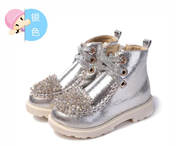 童靴女童靴子 新款儿童皮鞋马丁靴高帮韩版