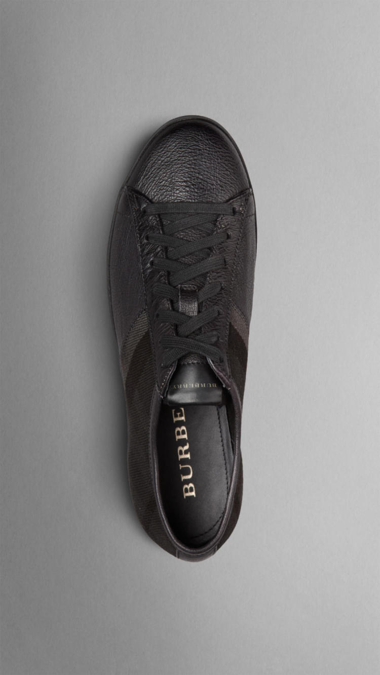 2014新款巴宝莉burberry男鞋格子棉质拼